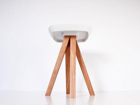 Un tabouret en bois et béton qui se monte sans outils, par simple emboîtement (via inoowdesign) | inoow design lab | Scoop.it