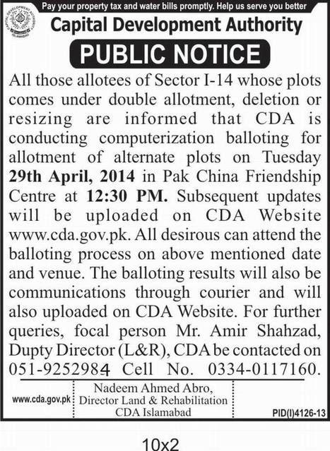 CDA to Conduct Balloting in Sector I-14 for Alternate Plots | Islamabad Real Estate | Scoop.it
