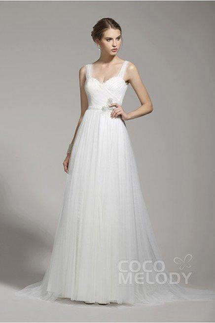 cf4f79e2b418 Cocomelody Sheath-Column Straps Tulle Ivory Sleeveless Backless Wedding  Dress