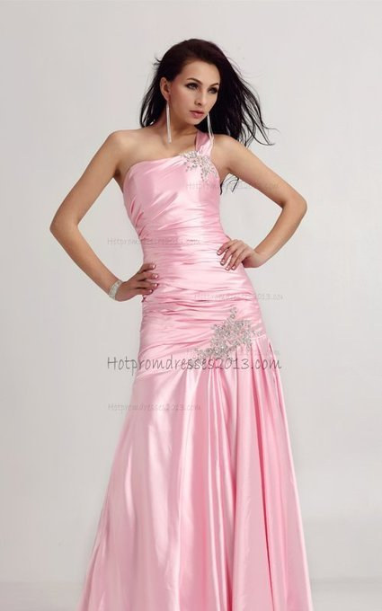 3eef66e42a65 Pink Beaded One Shoulder Long Prom Dress For Cheap [One Shoulder Long Prom  Dress] - $182.00 : Discount Dresses for Prom 2013,Up 50% Off