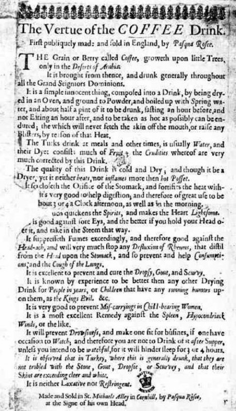 """First Coffee Ad"", 1652 