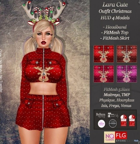 Lara Cute Christmas Outfit With HUD Group Gift by No Cabide & FLG | Teleport Hub - Second Life Freebies | Second Life Freebies | Scoop.it