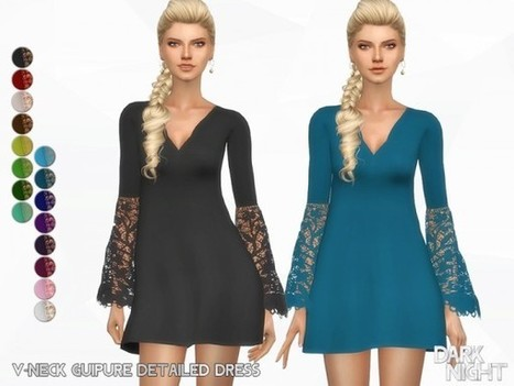 99deed99ee0 The Sims Resource  V-Neck Guipure Detailed Dress by DarkNighTt
