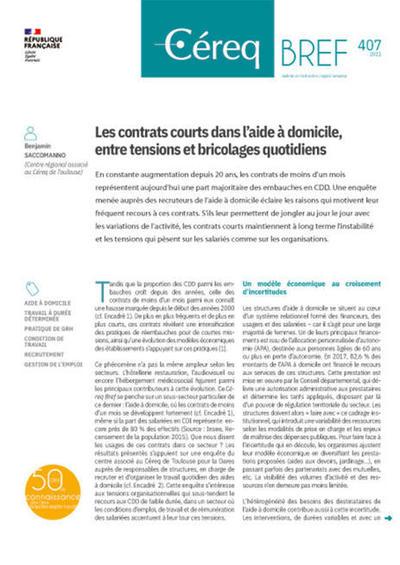 Les contrats courts dans l'aide à domicile, entre tensions et bricolages quotidiens | Cereq