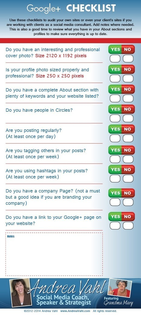 Google+ Checklist [Infographic] | Writing for Social Media | Scoop.it