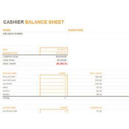 monthly daily cash register balance sheet in ex. Black Bedroom Furniture Sets. Home Design Ideas