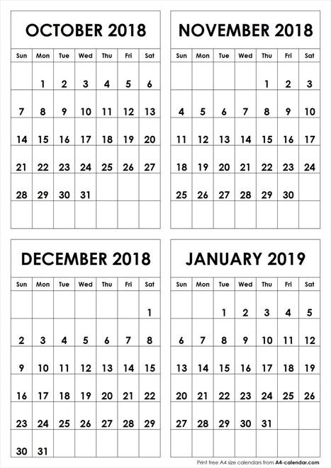 october to november 2019 calendar