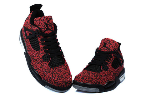 super popular e5540 efa83 Air Jordan 4 Elephant Print Black Red Custom Shoes Cheap Now