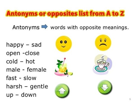 Antonyms or opposites list from A to Z PDF - Learning English vocabulary and grammar