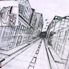 City in One Point Perspective Drawing Tutorial