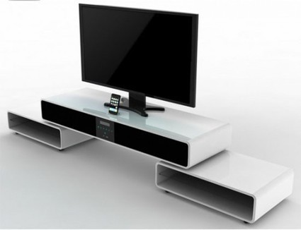 Mueble para televisi n con home cinema i for Mueble tv minimalista