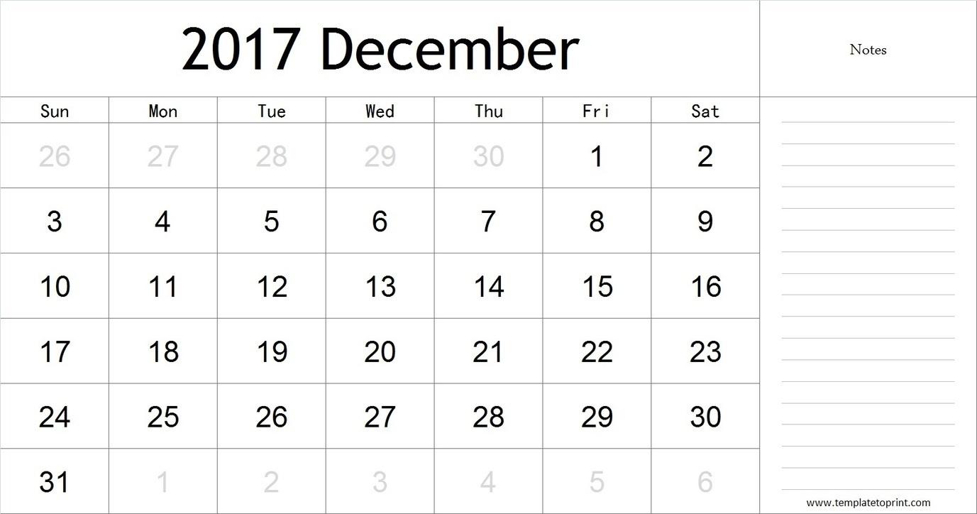 December 2017 Calendar with Notes, PDF, Blank C...