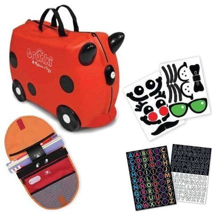 fac18a19afd6 Trunki by Melissa & Doug Wheeled Carry-On Kids Luggage - Ruby Red with  Coordinating Saddle Bag and Decorative Sticker Set