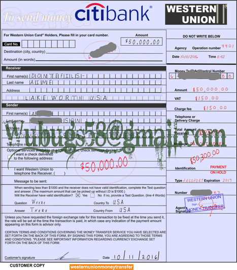 Western Union Bank Transfer