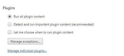 chrome plugins settings