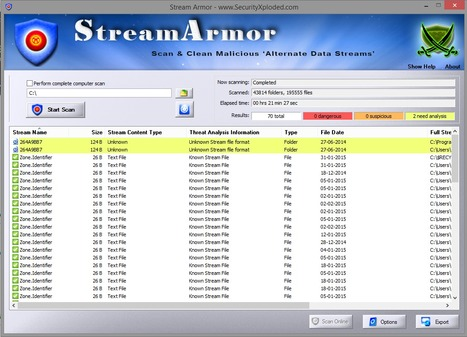 Stream Armor : Free Tool to Scan & Clean Malicious Alternate Data Streams (ADS) | CyberSecurity | ICT Security Tools | Scoop.it