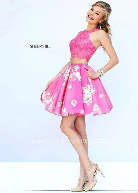 6fb432530d4a Pink Top Pink Print Sherri Hill Prom Dress with Hidden Side Pockets  Sherri  Hill 32245 Pink Pink Print  -  258.00   Prom Dress Store