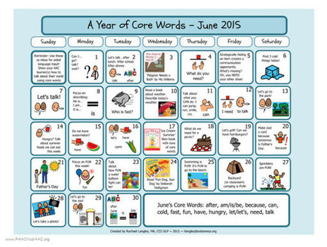 PrAACtically June: Core Word Calendar by Rachael Langley   AAC: Augmentative and Alternative Communication   Scoop.it