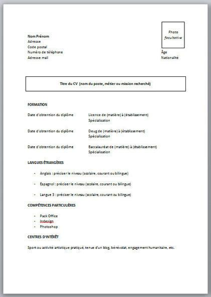 CV pour étudiant sans expérience