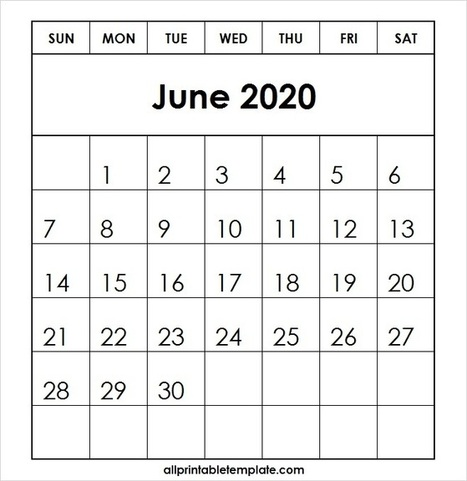 All Template For Printable June 2020 Calendar F