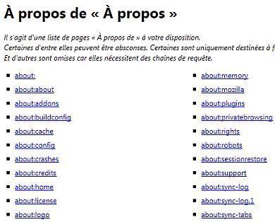 La liste complète des commandes about: pour Firefox | Actualités de l'open source | Scoop.it