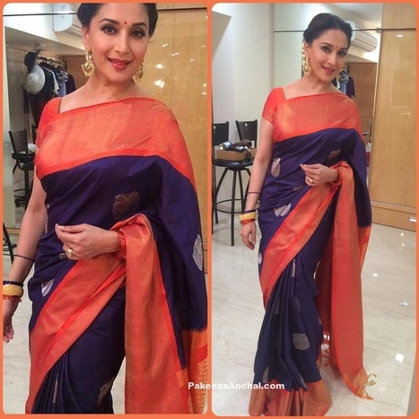 16d1cc57ff86b Madhuri Dixit in Blue Silk Saree with Short sleeved Blouse by Gaurang Shah