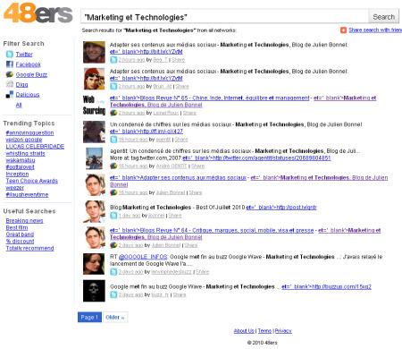 48ers : un outil de veille temps réel sur les réseaux sociaux - Marketing et Technologies, Blog de Julien Bonnel | Mon moleskine | Scoop.it