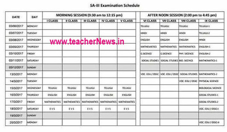 AP SA 3 Time table for Primary/ UP/ High School