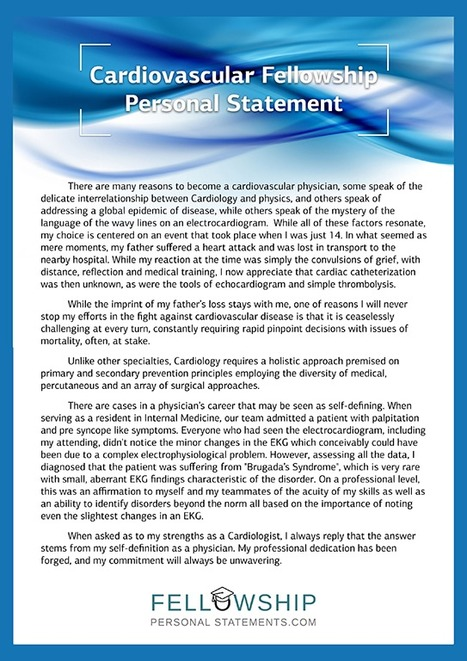 Cardiovascular Fellowship Personal Statement Sa