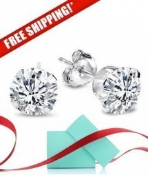 Trendzjewels Created Round Cut Black Diamond Fashion Wedding Stud Earrings 14K White Gold Over .925 Sterling Silver for Womens /& Girls 3MM to 10MM