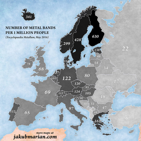 Number of metal bands per capita in Europe | Regional Geography | Scoop.it