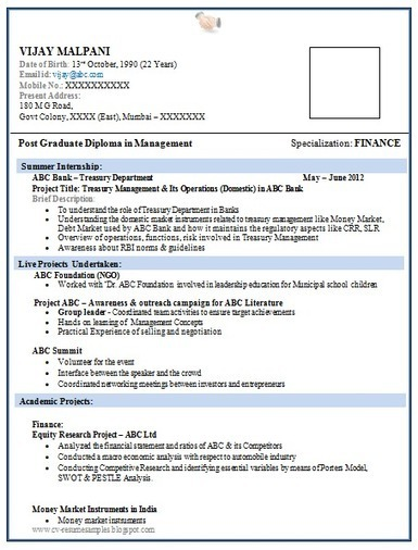 Exceptional Over 10000 CV And Resume Samples With Free Download: Resume Format For MBA  Finance Fresher
