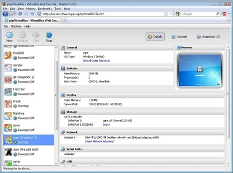 PHPVirtualbox – Une interface web pour Virtualbox | Les Outils - Inspiration | Scoop.it