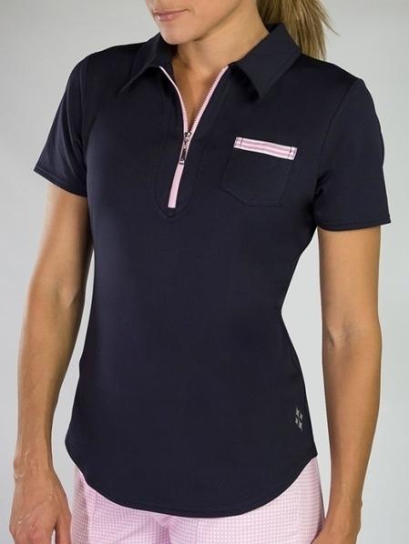 79456e086f06ab Lori s Golf Shoppe  JoFit Ladies Grosgrain Short Sleeve Pocket Golf Polo  Shirts - Bellini (Midnight Navy)