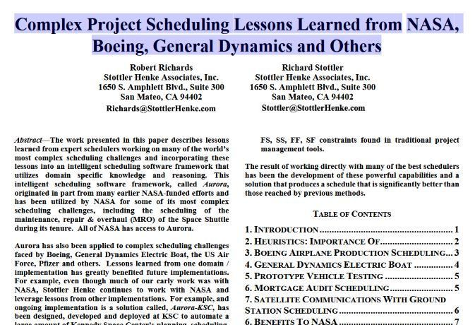 Very] Advanced project scheduling - 9 page art