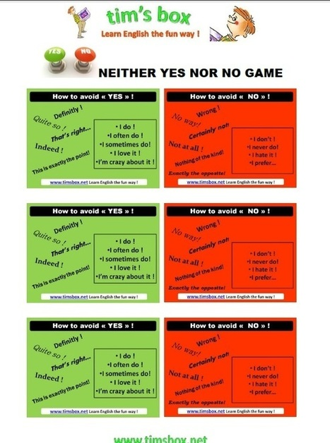 CLASSROOM GAMES - Neither yes nor no game | Teaching English ESL - Ressources anglais -timsbox | Scoop.it