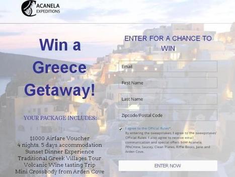 Acanela Greece Getaway Sweepstakes - Win $1000