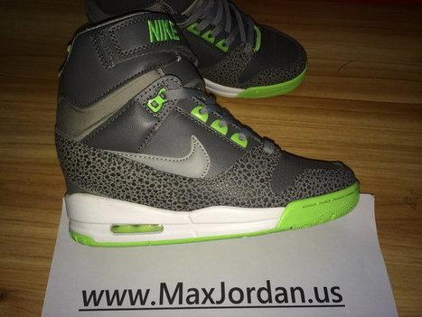 672317aed8b8e3 Women Nike Air Revolution Sky Hi Grey Green Shoes