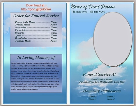 blue themed funeral program template in microsoft word 2007 2010 to download