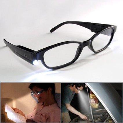 79ffa53c4c Hand-free Lighting Night Bedroom Book Bright Lighted Up LED Reading Glasses  +1.00 Black Full Frame