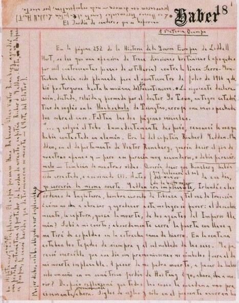 "Handwritten Manuscript Page for Jorge Luis Borges's ""The Garden ...   Paraliteraturas + Pessoa, Borges e Lovecraft   Scoop.it"
