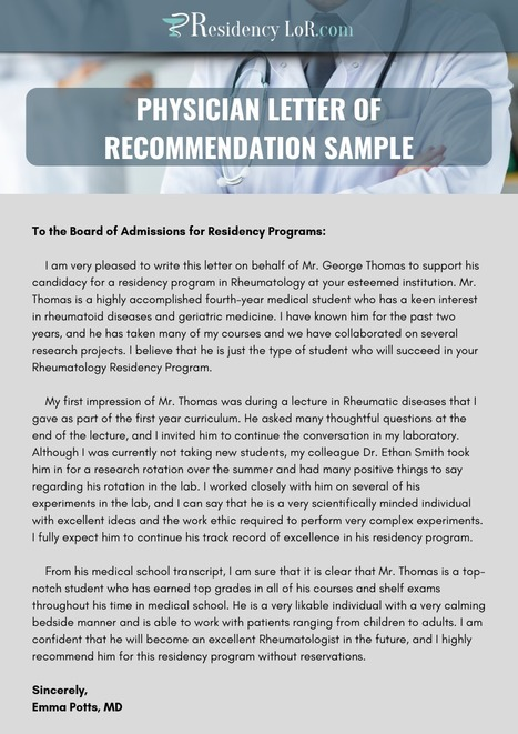 Surgery Letter Of Recommendation Sample Resid