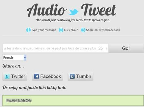 Envoyer un message audio text to speech vers twitter, facebook et tumblr | Time to Learn | Scoop.it