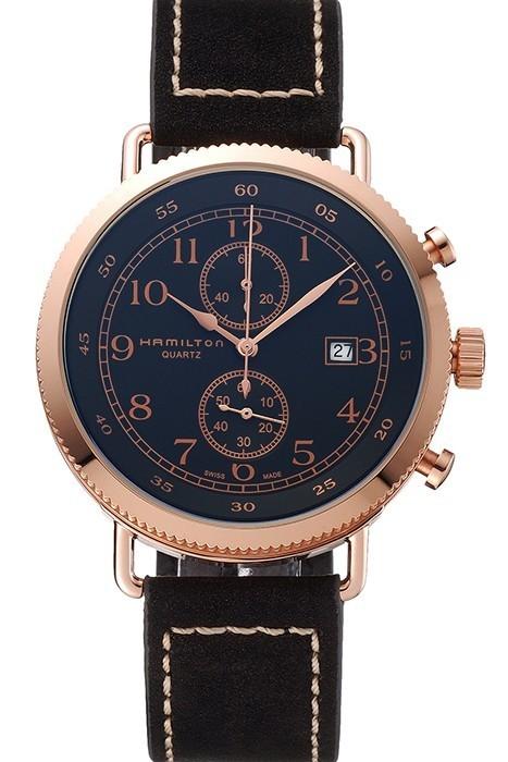 610044b8f80 Hamilton Navy Pioneer Chronograph Black Dial Rose Gold Fake Watch