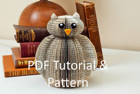 PDF Tutorial and Pattern - Book Art Owl - Paper cutting Pattern - Instructions - photos - Instant Download -Book Owl pattern template | Bazaar | Scoop.it