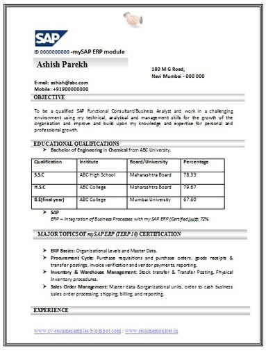 Charmant Over 10000 CV And Resume Samples With Free Download: Download SAP Resume  Format Free