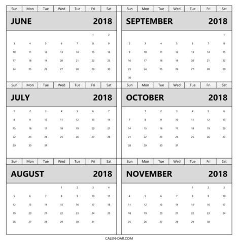 Calendar June July August September October Novemb In Calendar