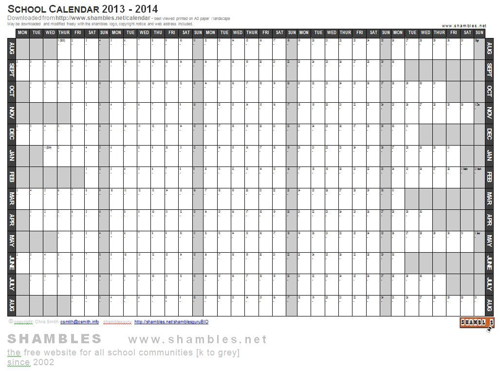 2013-2014 Academic Calendar [Word Template] | W