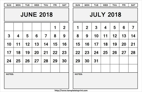 Blank June July 2018 Calendar Template 2 Mont