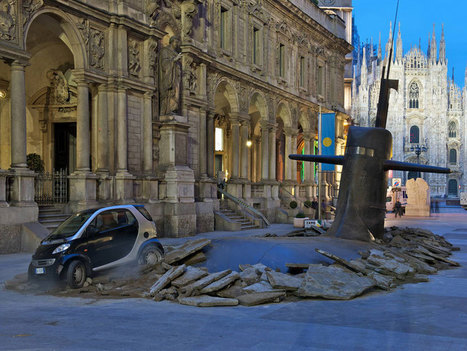 a massive submarine emerges in milan's city center | Art, Design & Technology | Scoop.it